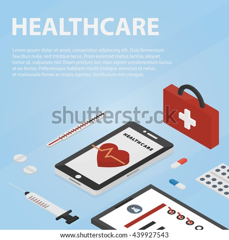 Vector isometric banner of healthcare and medicine for website, apps and infographic. Business concept poster of medical science.