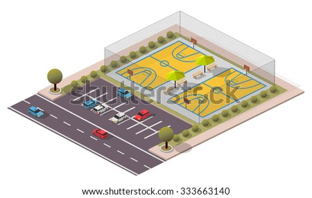 Vector Isometric Basketball Field