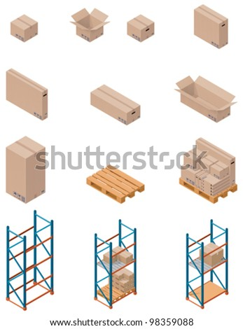Vector isometric boxes, pallets and warehouse shelving - stock vector