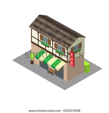 Vector isometric building pub, cafe, beer bar. Isometric icon or infographic element pub, cafe, beer bar on white background. - stock vector