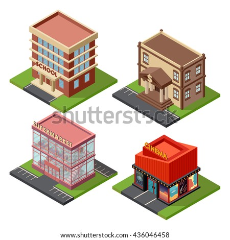 Vector isometric buildings set architecture icon. Isometric buildings architecture icon exterior business real estate construction. Urban facade block isometric buildings store cartoon elements. - stock vector