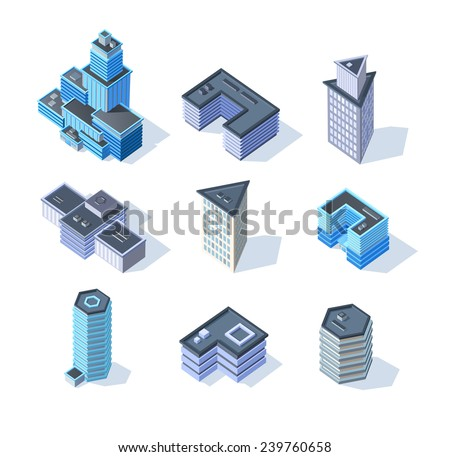 Vector isometric business city center buildings set. Eps 10 - stock vector