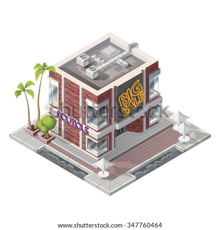 Vector isometric cafe shop building icon - stock vector