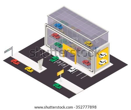 Vector isometric car store building.  3d city map elements - stock vector