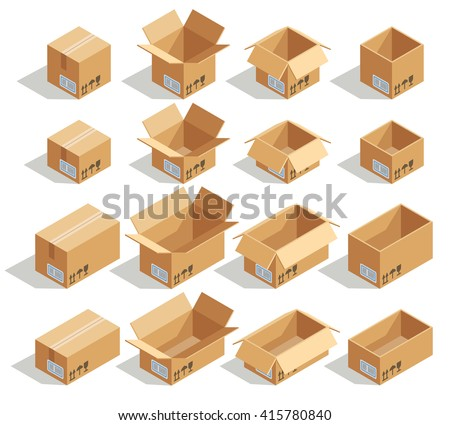 Vector isometric cardboard boxes. Box cardboard, box package, box packaging, box icon, box isolated illustration - stock vector