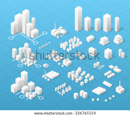 Vector isometric center of the city on the map with a large number of buildings, skyscrapers, factories, parks and vehicles. Isometric view of a large modern city business. - stock vector