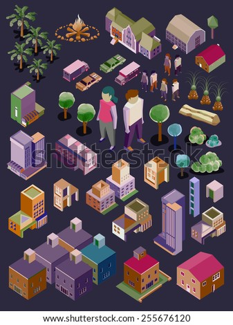 vector isometric city and buildings set - stock vector