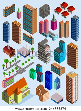 Vector isometric city building. custom map element - stock vector