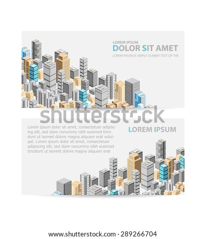 Vector isometric city center on the map with a large number of buildings, skyscrapers - stock vector