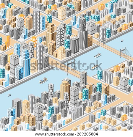 Vector isometric city center on the map with a large number of buildings, skyscrapers, river, bridges and ships - stock vector