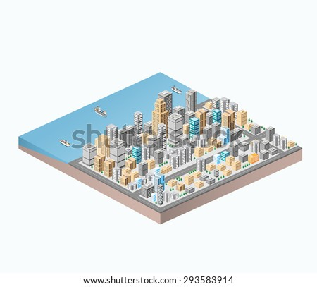 Vector isometric city center on the map with a large number of buildings, skyscrapers, roads and sea coast - stock vector