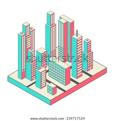 Vector isometric city center on the map with lots of buildings, skyscrapers, factories, and parks - stock vector