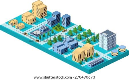 Vector  isometric city center on the map with lots of buildings, skyscrapers, factories, and parks. Picture in style flat