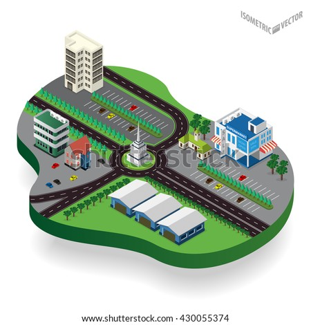 Vector isometric city center with building, road, car. Isometric city map. Vector illustration.