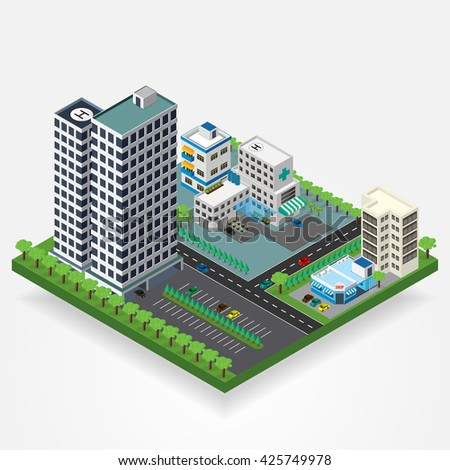 Vector isometric city center with building, road, hospital, car. Isometric city map. Vector illustration.
