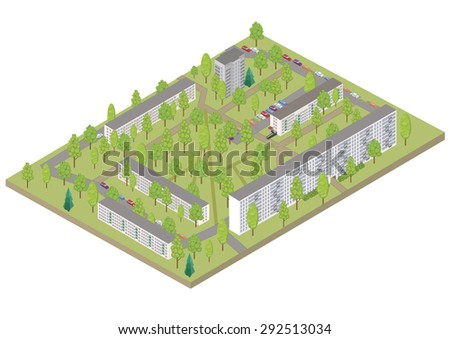 vector isometric color city