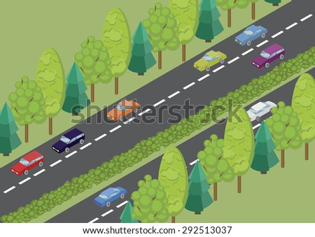 vector isometric color road and cars in the countryside