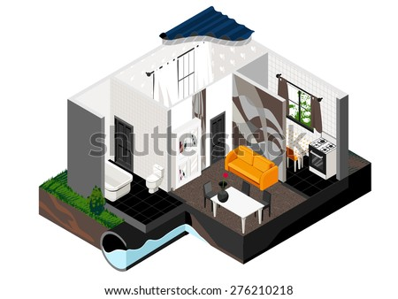 Vector isometric cut of a house. Single store building. Simple interior, schematic illustrating of sewerage arrangement. . Can be used as icon or gameplay for games and mobile apps. - stock vector