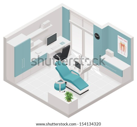 Vector isometric dental clinic icon - stock vector