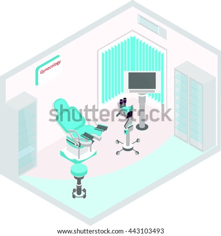 Vector , Isometric Drawing, Which Shows A Medical, Gynecological Office  With Necessary Furniture And