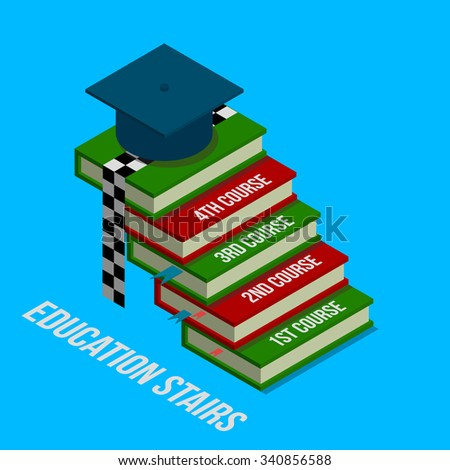 Vector isometric education concept illustration . 3d flat .Educations stairs . Square academic cap . Books . Finish ribbon . Flat icon . Isometric background .