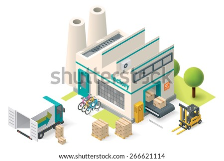 Vector isometric factory building icon - stock vector