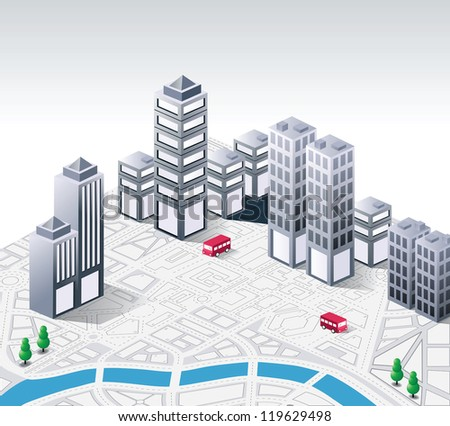 Vector isometric fantasy on the theme of urban - stock vector