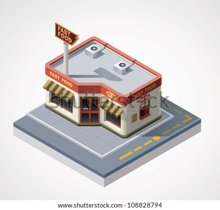 Vector isometric fast food cafe - stock vector