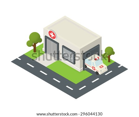 Vector isometric hospital building icon with emergency car - stock vector