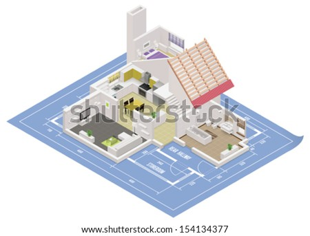 Vector isometric house cutaway icon. Building cross-section includes rooms and roof placed on the blueprint