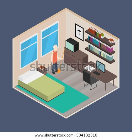 Vector isometric house room: Bedroom