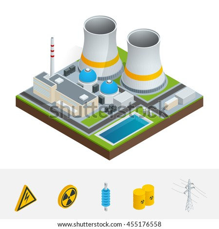 Vector isometric icon, infographic element representing nuclear power station, reactors, power lines and nuclear energy generation related facilities. Industrial landscape.  - stock vector