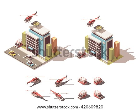 Vector Isometric icon or infographic element representing hospital, ambulance van and helicopter - stock vector