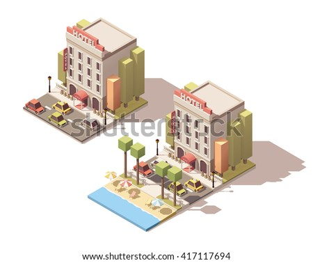 Vector Isometric icon or infographic element representing hotel building on the beach. Cars passing by on the street - stock vector