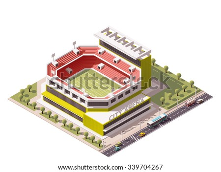 Vector isometric icon or infographic element representing low poly American football stadium in the park and street with cars and bus