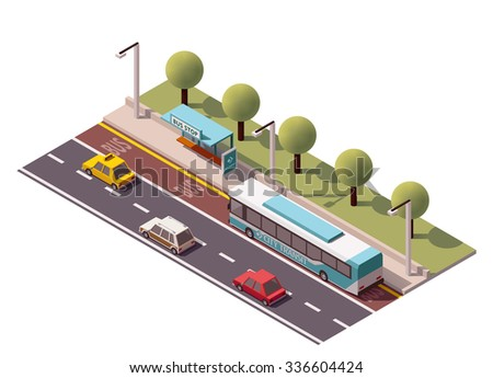 Vector isometric icon or infographic element representing low poly bus approaching bus stop on the street  - stock vector