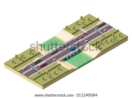 Vector isometric icon or infographic element representing low poly cars and trucks driving on the bridge over the river - stock vector