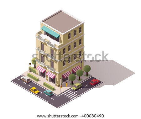Vector isometric icon or infographic element representing low poly city store building with awnings, cars passing by the street