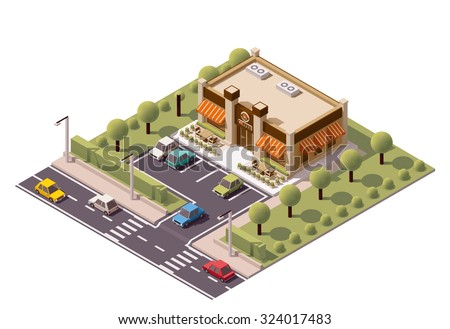 Vector isometric icon or infographic element representing low poly coffee shop or cafe building with tables and chairs outside