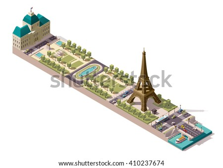 Vector isometric icon or infographic element representing  low poly Eiffel Tower on the Field of Mars and Jena Bridge over Seine river.  Paris, France - stock vector
