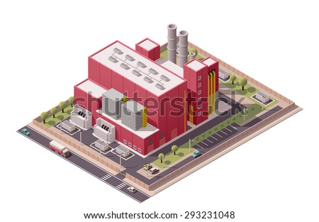 Vector isometric icon or infographic element representing low poly factory building and industrial structures  - stock vector