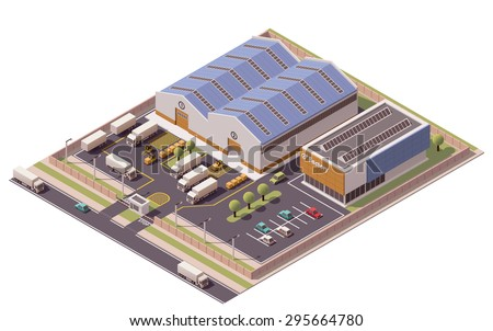 Vector isometric icon or infographic element representing low poly factory building, warehouse, office and semi-trucks with trailers  - stock vector