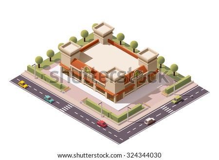 Vector isometric icon or infographic element representing low poly farmers market building