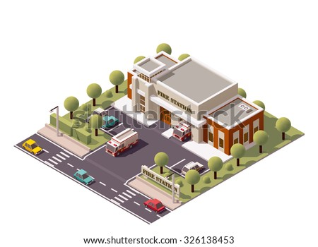 Vector isometric icon or infographic element representing low poly firefighters department office building with fire trucks