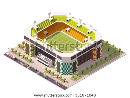 Vector isometric icon or infographic element representing low poly  football or soccer stadium with cars and buses on the street - stock vector