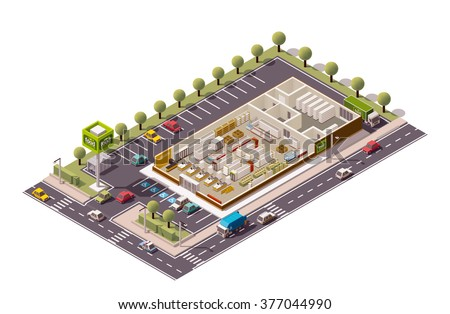 Vector isometric icon or infographic element representing low poly grocery supermarket store cross-section infographic with shop equipment, fridges, shelves, furniture. Parking lot and street included - stock vector