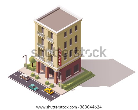 Vector isometric icon or infographic element representing low poly hotel or hostel building, cars and trees on the street nearby