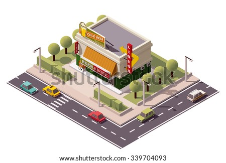 Vector isometric icon or infographic element representing low poly liquor store building  in suburban area, road, cars, retro advertising neon sign