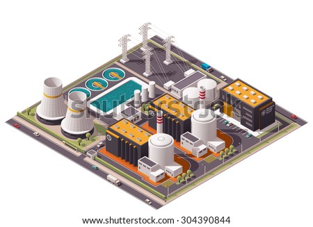Vector isometric icon or infographic element representing low poly nuclear power station, reactors, power lines and nuclear energy generation related facilities - stock vector