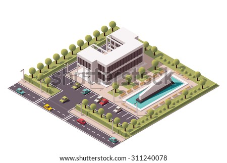 Vector isometric icon or infographic element representing low poly office building with fountain and car parking  - stock vector